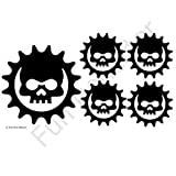 Black Skull Cog Bicycle Reflective Reflector Sticker Decal by Fun Reflector