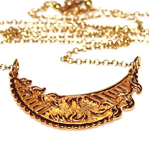Ornate Filagree (Large Crescent Necklace Gold Medallion)