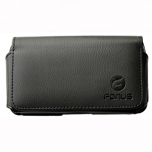 Fitted Horizontal Leather Pouch - Black Horizontal Leather Case Side Pouch Cover Holster with Swivel Belt Clip for Verizon iPhone 6 - Verizon HTC Windows Phone 8X - Verizon Kyocera Brigadier