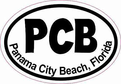 StickerTalk 3in x 2in Oval PCB Panama City Beach Sticker Luggage Decal Car Stickers