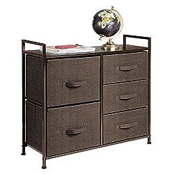 mDesign Wide Dresser Storage Tower - Sturdy Steel Frame, Wood Top, Easy Pull Fabric Bins - Organizer Unit for Bedroom, Hallway, Entryway, Closets - Textured Print - 5 Drawers, Espresso