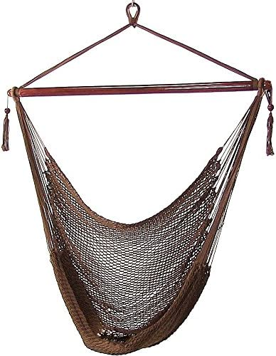 Sunnydaze Hanging Rope Hammock Chair Swing – Caribbean Style Extra Large Hanging Chair for Backyard Patio – Mocha