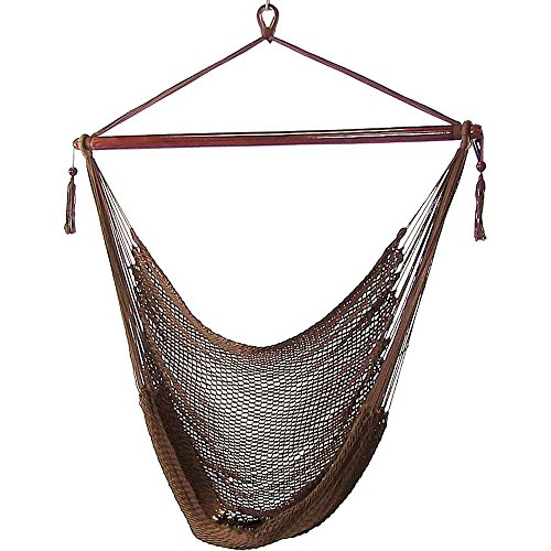 Sunnydaze Hanging Rope Hammock Chair Swing, Extra Large Caribbean, Mocha – for Indoor or Outdoor Patio, Yard, Porch, and Bedroom