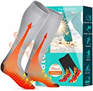 LHZ Heated Socks, Rechargeable Electric Socks with 5000mAh Large Capacity Battery Thermal Socks for Women Men,