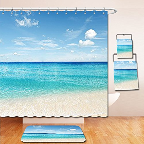 LiczHome Bath Suit: Showercurtain Bathrug Bathtowel Handtowel Ocean Decor Collection Tropical Caribbean Sea Shore Sand Beach and Peaceful Sea Picture Living Kids Girls Boys Room Accessories Tapestry (Chevron Flower Girl Basket)
