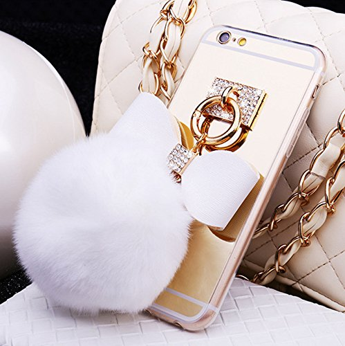 [iPhone 6S/6 Case, Flexible Soft TPU Clear Design Mirror Fur Ball 3D Sparkle Rhinestone Diamond White Bow Finger Loop Holder Cute Girly Protective Fuzzy Softball Clear Cover for Apple iPhone 4.7] (Hair Bows Finger)
