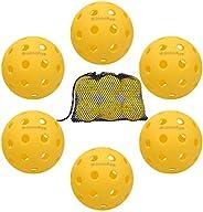 Pickleball Ball Set 6 Pack Outdoor and Indoor Pickleball Balls in Mesh Ball Bag, USAPA Standard Pickleball Set