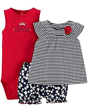 Just One You Baby Girls' Patriotic Diaper Cover Set - Red/Navy/White