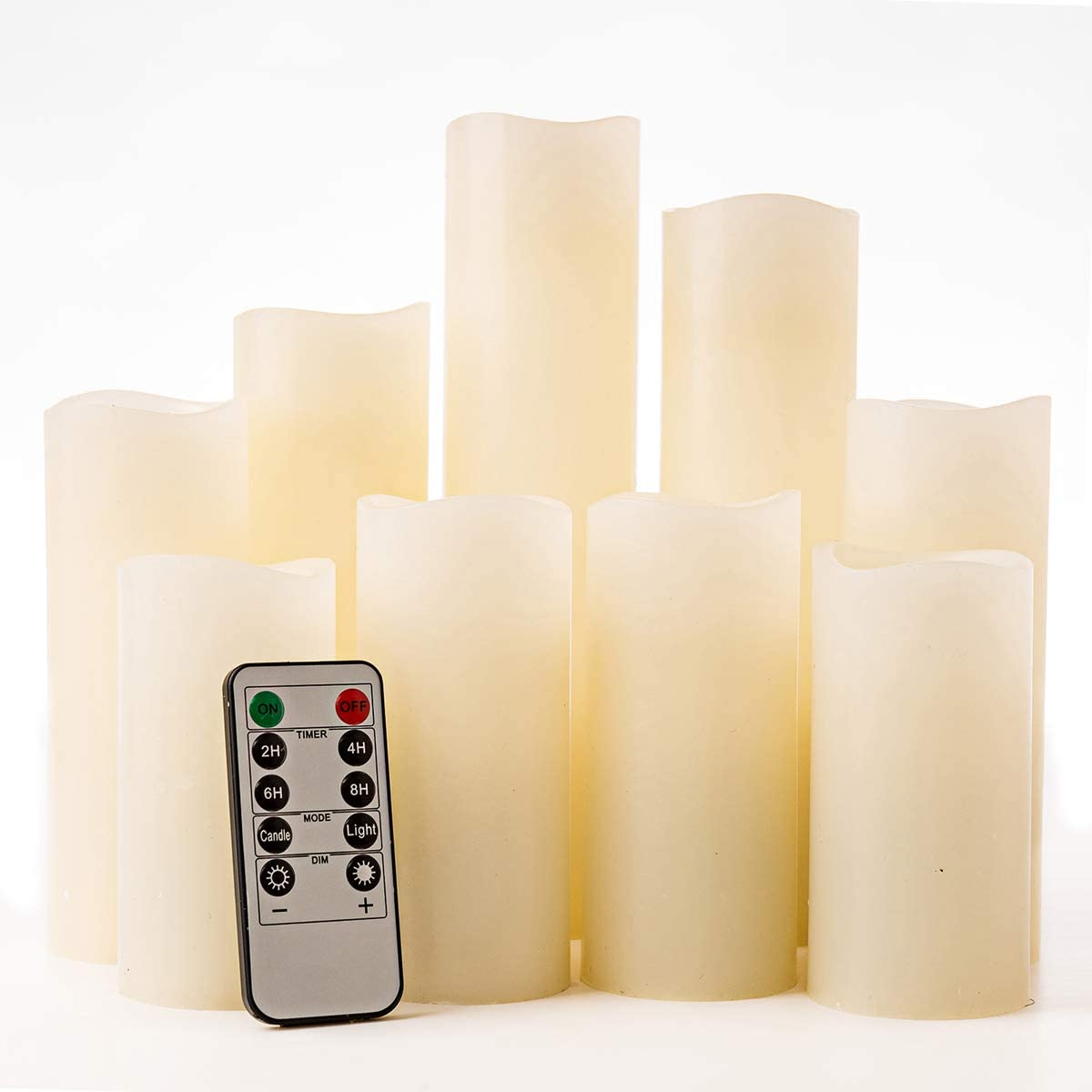 Ewalkor Flameless Candles, Battery Operated Electric LED Pillar Candles with 10-Key Remote Control and Timer, Set of 9 Ivory White Fake Candles Set