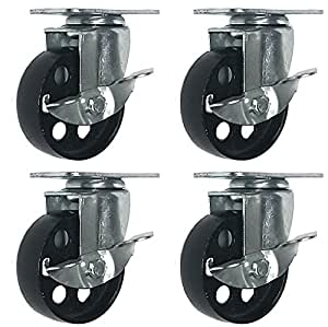 "4 All Steel Swivel Plate Caster Wheels w Brake Lock Heavy Duty High-gauge Steel 1500lb total capacity (3.5"" With brake)"