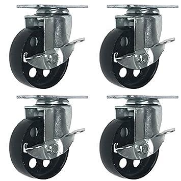 3 No Brake Online Best Service 4 All Steel Swivel Plate Caster Wheels Heavy Duty High-gauge Steel 1500lb total capacity