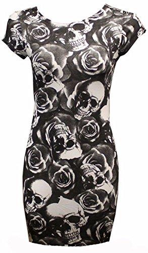Janisramone Nouveau Haut Crâne Crâne Femmes Manches Courtes Rose Imprimé Tunique Moulante Extensible Mini Robe Rose