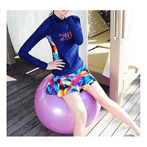Fashion sleeves Split Dress Bikini Navy Women Girls Printed Long For Women blue Style Swimsuit Wasnotfound 5qf4gawn