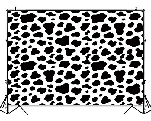 Funnytree 7x5ft Cow Print Backdrop for Boy Girl Birthday Party Black and White Farm Photography Background Cattle Spots Baby Shower Portrait Photo Studio Props Cake Table Decorations -