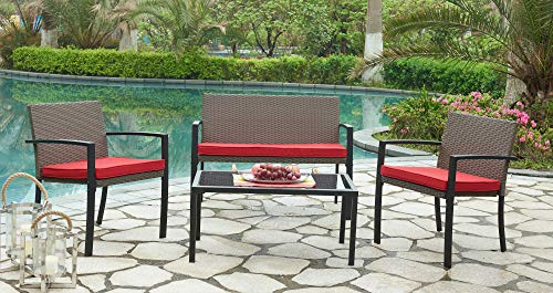 - DG Casa 8025-4SET-RED Capistrano 4 Piece Outdoor Sofa Patio Deck Furniture Set with Loveseat Chair Table and Seat Cushions, Brown/Red in Synthetic Rattan and Steel Frame