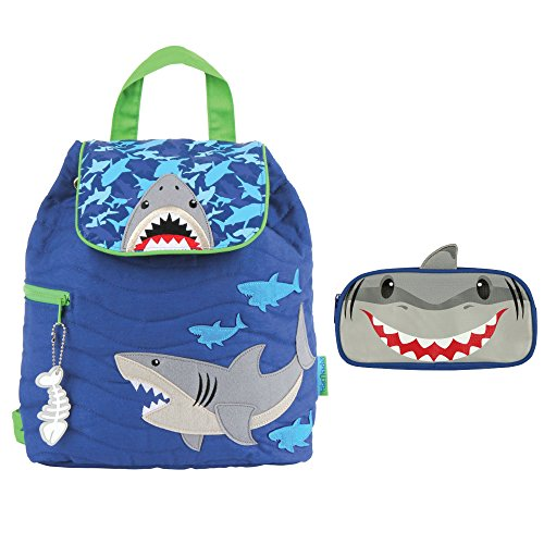 Stephen Joseph Boys Quilted Shark Backpack and Pencil Case