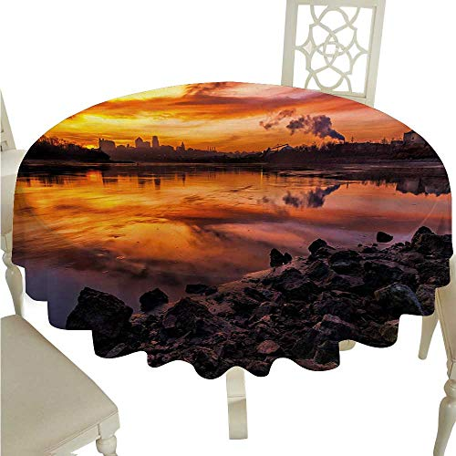 (Landscape Washable Table Cloth Usa Missouri Kansas City Scenery of a Sunset Lake Nature Camping Themed Art Photo Washable Polyester - Great for Buffet Table, Parties, Holiday Dinner, Wedding &)
