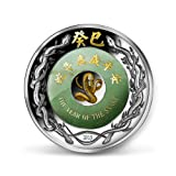 Jade Lunar Year Of The Snake Laos 2oz Silver with Jade 24 K Gold 2013
