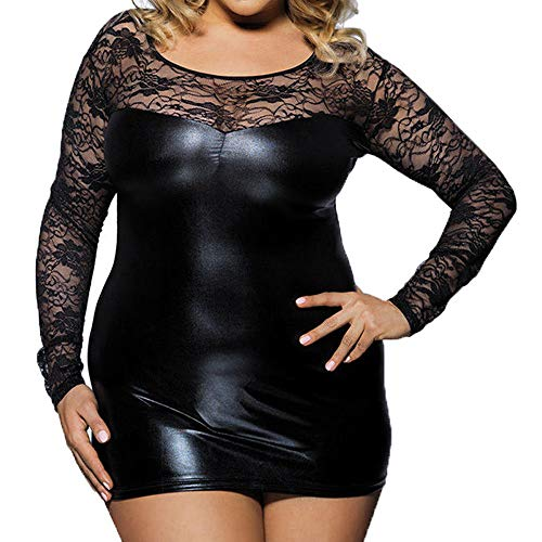 ♥ HebeTop ♥ Nightdress for Womens Plus Size, Ladies Teddy Babydoll Sexy Stretch Lace Leather Splice Lingerie Sex Sleepwear Black