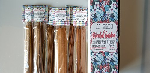 Handmade Scented Incense Sticks Variety Pack, Six Scents Cherry Blossom, Tiger Lily, Yuzu, Bamboo -