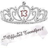 13th Birthday Tiara and Sash | Happy 13th Birthday Party Supplies | Official Teenager Satin Sash and Crystal Tiara…