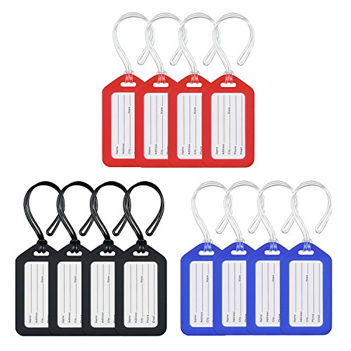 MIFFLIN Luggage Tags (Classic, 12 Pack), Suitcase Tag, Bag Tag for ()