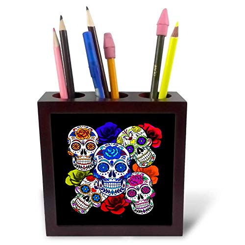 3dRose Sandy Mertens Halloween Designs - Sugar Skulls and Roses Mardi Gras, Halloween, 3drsmm - 5 inch Tile Pen Holder (ph_290213_1) ()