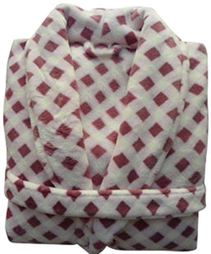COGO Men Women Winter Soft Check Lounge Sleepwear Bath Robe Pajama L