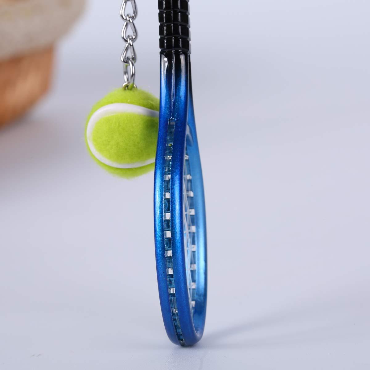 12 Pieces Mini Tennis Key Chain Tennis Racket Shape Model Key Rings Sport Style Split Keychain Set, Sport Lovers Gift