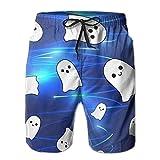 Alin-Z White Ghost Pattern Men's Quick Dry Swim Trunks Beach Surfing Shorts