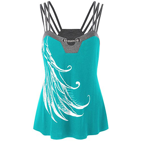FarJing Clearance Sale Women Plus Size Strappy Tank Tops Chains Embellished Blouse Sleeveless Shirt (Cowl Neck Chain)