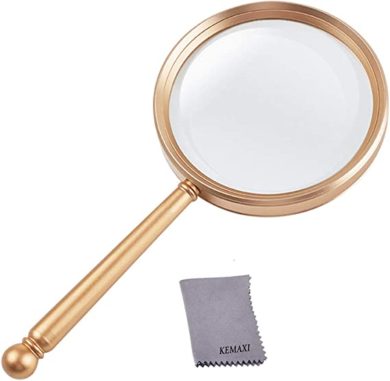 Magnifying Glass 5x Handheld Magnifier With Large Glass Lens And Metal Handle Magnifying Glasses For Reading Close Work Hobbies Inspection Science And Crafts Great For Seniors And Kids Gold Office Products Amazon Com