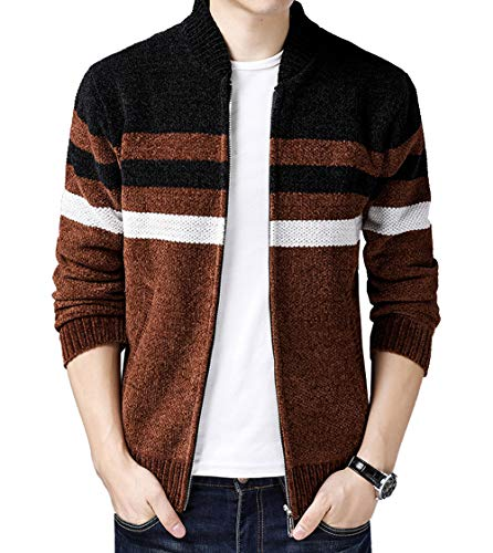 Fuwenni Men's Striped Zip Knitted Cardigan Sweater Brown M ()