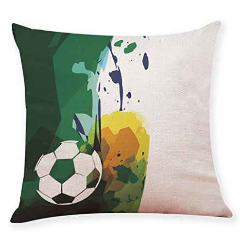 Sameno World Cup Football Soccer Soft Pillow Covers Set for Bedroom, Living Room, Couch Set of 9 (C) ()