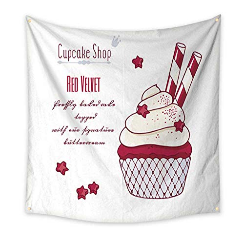 Warm Family Decor Tapestry Hand Drawn red Velvet Cupcake with Doodle Buttercream for Pastry Shop menu Home Decorations 70W x 70L Inch