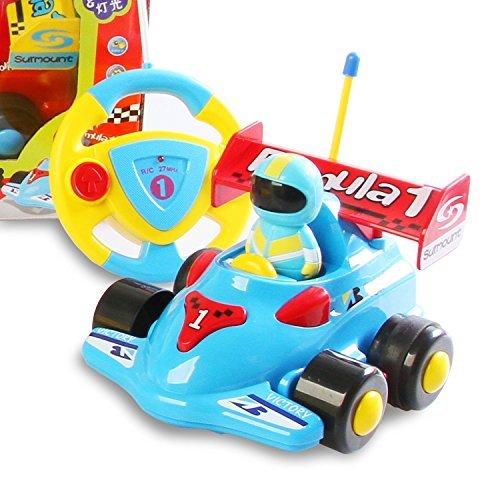 (Team R/C Cartoon R/C Formula Race Car Radio Control Toy for Toddlers (Blue))