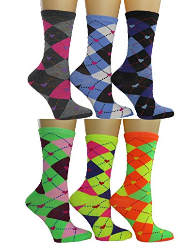 Womens Colorful Crew socks 6-pack by DEBRA WEITZNER 1810 Collection