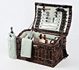 Picnic Beyond Wicker & Wood Picnic Basket for 4 PB1-3383A 32pcs Dar Brown Color Wine Bag Cheese Sets by Picnic & Beyond