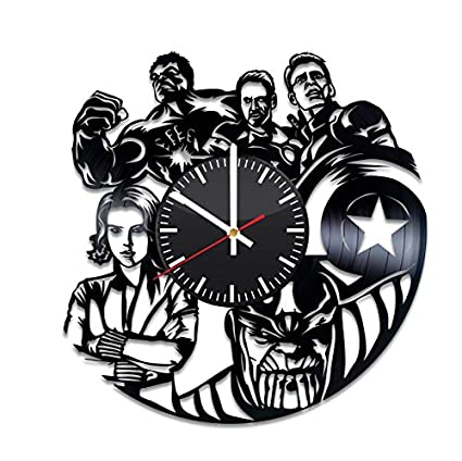 The Avengers Vinyl Clock - Iron Man Captain America Hulk Marvel Comics Vinyl Records Wall Art