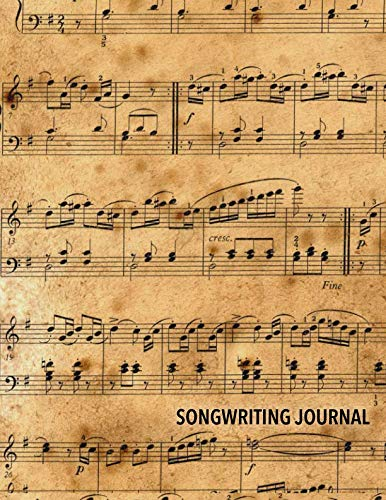 Songwriting Journal: Combination Staff Manuscript Paper Notebook with Lined Pages for Lyrics and Notes Antique Music Pattern ()