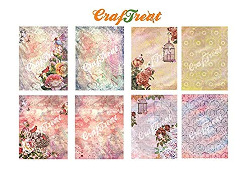 CrafTreat Decoupage Paper - Bridcage and Bird House (8pcs) - Beautiful Textured Thin Papers for Decoupage, Mixed Media, Art and Craft Projects