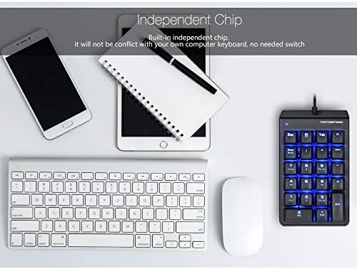 HUIFANGBU MOTOSPEED K22 Mechanical Numeric Keypad Wired 22 Keys Mini Backlight Keyboard Extended Layout