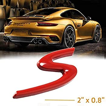 1x Porsche Logo Emblem S in Red Newer Models for 2011-2017 Boxster, Cayman, Macan, Panamera, 911 Carrera