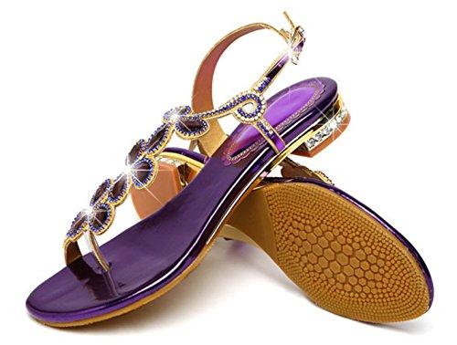 De Strass CYGG Plat Mode Sandales Femmes En purple Mariage Lumineux Chaussures De Femmes Fête Chaussures Cuir vUqCT