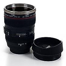 Trademark Camera Lens Coffee Mug with Lid by Whetstone, Black