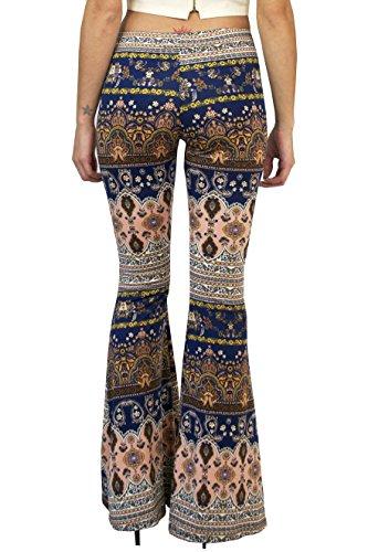 b2cb7ce21b9221 Daisy Del Sol Gypsy Comfy Yoga Ethnic Tribal Stretch 70s Bell Bottom Flare  Pants (Medium