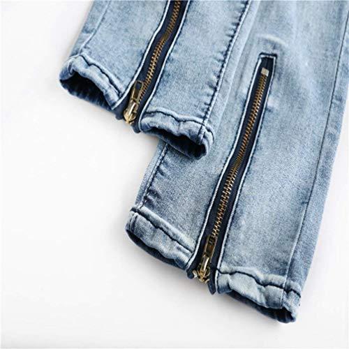 Densità Pantaloni Gamba Chiusura Ginocchio Chic Decorazione Rugoso Jeans Lavato Maschile Casual Uomo In Blau Distrutto Denim azqpCxdwa0