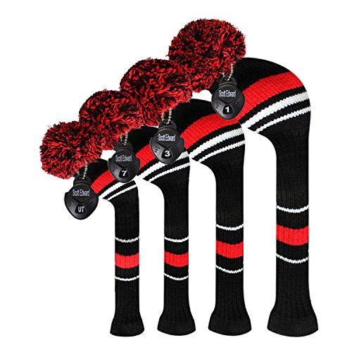 Scott Edward Red Warning Stripes Golf Club Head Covers, Acrylic Yarn Double Layers Knitted, Set of 4, with Rotating Number Tags