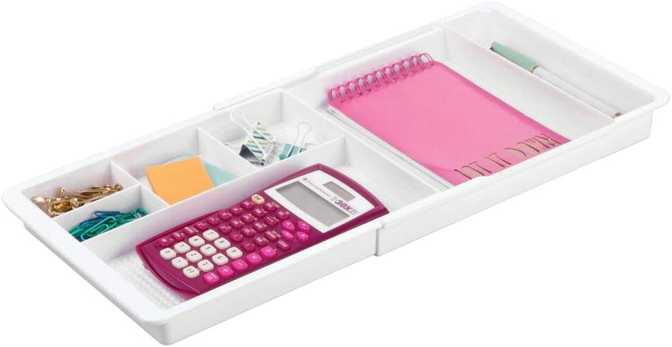 "mDesign Adjustable, Expandable Divided Office Desk Drawer Organizer Tray for Office Supplies, Gel Pens, Pencils, Markers, Tape, Erasers, Paperclips, Staples - 7 Compartments, 1.25"" High - White"