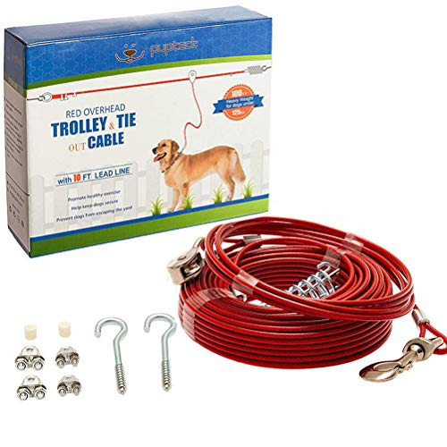 PUPTECK Dog Run Cable, 100 ft Heavy Weight Tie Out Cable with 10 Feet Runner for Dog up to 125lbs, Red